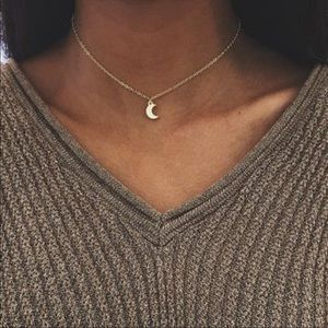 Gold Crescent Moon Choker Necklace 🌙